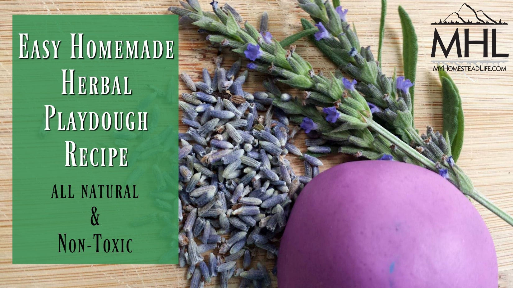 Easy Homemade Herbal Playdough Recipe. All natural and non-toxic.